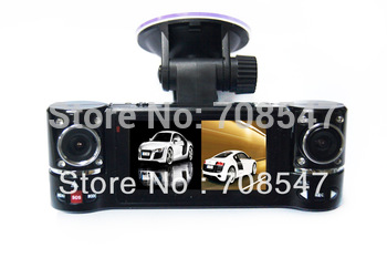 "Free Shipping F600 2.7"" TFT LCD Screen Dual Lens Night Vision video camorder 1280 X 480P Car DVR Video Recorder Camera"