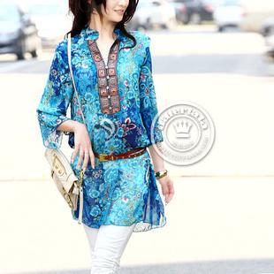 2015 Blue/Red M,L,XL,XXL,XXXL,XXXXL Printed Bohemia Embroidery V-neck Chiffon Shirt Plus Size Lady Dress Fashion Women Dress