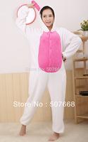 1 pcs New Adult  Animal Fleece Lovely  White Rabbit Pyjamas Sleepsuit sleepwear Underwear Onesi