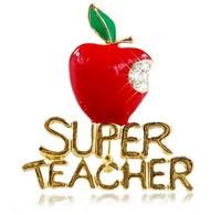 Fashion Woman & Man  Super Teacher Red Apple Alloy Rhinestone  Enamel Brooch Pin  Gold Plated Jewelry