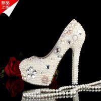 Pearl rhinestone wedding shoes ultra high heels bridal shoes platform crystal shoes