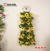 FreeShipping Sunflower wall artificial flower silk flower artificial flower ivy vine wall decoration  --dd