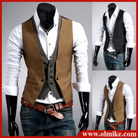 Fashion plaid faux two piece Waistcoat male slim vest Mens tank tops vests undershirt beer for men singlet Asia S-XL C409