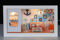Mediterranean Voyage DIY doll house miniature furniture, toy wooden house for kid with LED