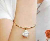 Min.order is $10 (mix order) Fashion brief rhinestone Hollow heart bracelet bangle jewelry!Free shipping!! cRYSTAL sHOP SJB317