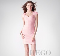 wholesale top quality Fashion HEGO Bqueen Sexy V collar pink bandage dress evening dress even H305