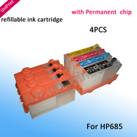 Refillable Ink Cartridges with Permanent Chip  For hp685  hp 685 work on Deskjet 3525 4615 4625 5525 6525 FREE SHIPPING!