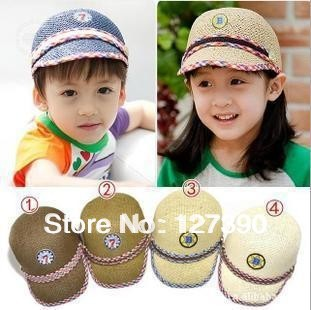 Free shipping Baby Baseball Cap Children Adjustable Top Sun Hat Kids Fashion Straw Cap 4 Colors Wholesale 5 pcs/lot