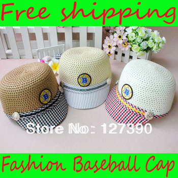 Free shipping Baby Baseball Cap Children Adjustable Top Sun Hat Kids Fashion Straw Cap 4 Colors Wholesale 12 pcs/lot