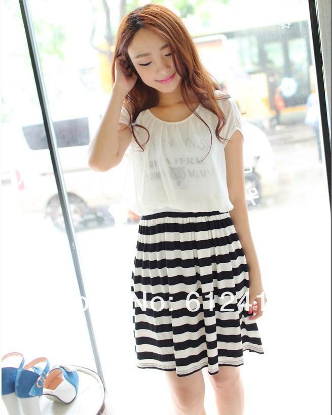 NEW lady Korean style chiffon fashion slim dress, women casual sweet ...