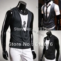 2013 New Fashion Men Sleeveless Casual Cotton Solid Color Summer Men's Vest Waistcoat Top Free Shipping 13092