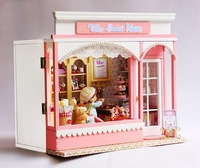 DIY Kid doll house miniature furniture candy stores, wooden toy house for sale