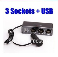 USB 3 way Auto Car Cigarette Lighter Socket Splitter Plug Charger 12V Adapter Accessory Free Shipping