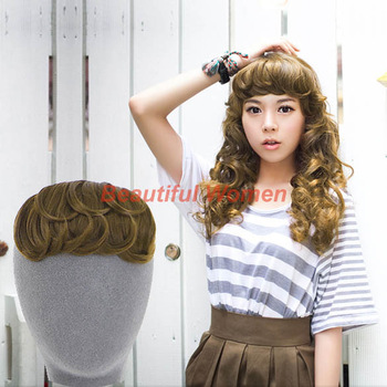 New Korean Women's Clip In Bang Fringe Hairpiece Hair Extension Body Wavy Golden color free shipping 10002 3F