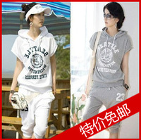 Free shipping 2013 summer with a hood sweatshirt capris twinset casual print sports set female