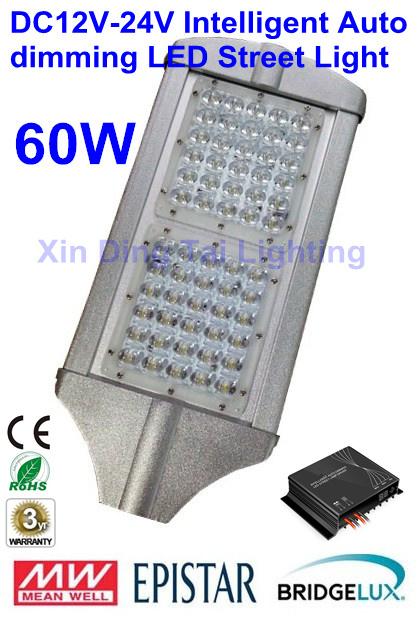 Free Shipping Intelligent Auto dimming DC12V/24V 60W LED street light LED street lamp solar street light 3 years Warranty(China (Mainland))