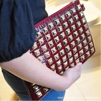 2013 New Fashion Women's PU Leather Handbag Rivet Lady Clutch Purse Evening Bag Free Shipping+Gift+Quality Guarantee XP48