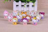 Free shipping12pcs/lot Hello Kitty pvc toy Chinese zodiac KT toys twelve animals 12 style china constellation