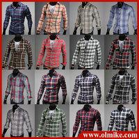 Drop shipping men's Casual Shirts long sleeve plaid shirt 16 colors man shirts Asia S-XXL C411