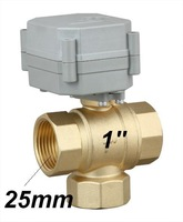 Water Control System use DC12V/DC24V three way electric ball valve 2 wires 1'' BSP/NPT brass valve  brass T type 1.0Mpa qualited