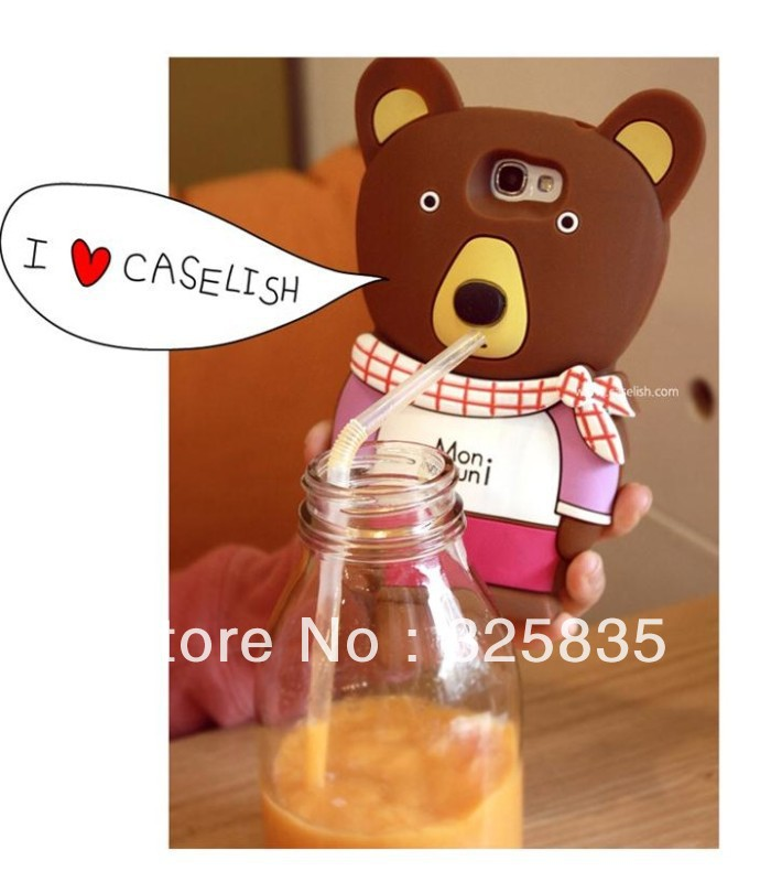 Free shipping 1pcs Cute Cartoon PC hard cover case Monnouni Bear 3D Silicone Case for Galaxy Note 2 with retail package(China (Mainland))