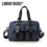 High quality new fashion canvas+cow leather  mens handbag ,fashion messenger bag L124AE01 f