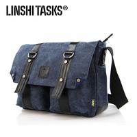 2013 canvas+genuine leather mens shoulder bags ,canvas messenger bag  ,casual bag L124AE02