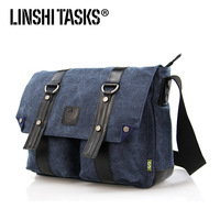 2013 canvas+genuine leather mens shoulder bags ,canvas messenger bag  ,casual bag L124AE02