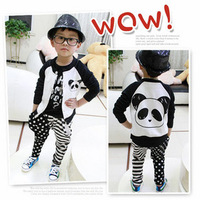 Children's wear children cartoon panda black and white stitching single-breasted coat cardigan free shipping for 5 PCS/lot