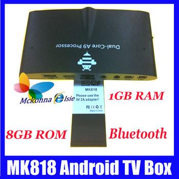 10Pcs/lot DHL Free,Android 4.1 Mk818 RK3066 Dual Core 1.6GHZ 8GB ROM Mini PC TV Box Built-in Mic+0.3M Camera RJ45 HDMI/AV Output