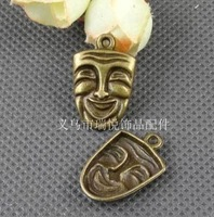 Free shipping On Sale 60pcs/lot New Fashion Alloy Mask Shape Charms Antique Bronze Plated Pendant Fit Handcraft DIY 24*15MM