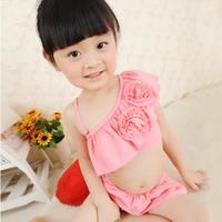 2014 Top Fasion Freeshipping Nylon Striped Baby Small Lourie Child Swimsuit Hot Springs Female Bikini Split Swimwear