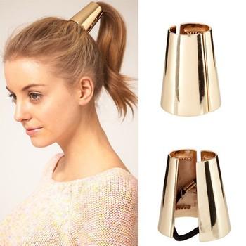 Free Shipping Fashion Punk headband headrope metal glossy ring headband hair rope rubber band hair accessory