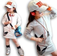 2013 spring and autumn girl o-neck pullover medium-large child sports sweatshirt bust skirt twinset set skirt