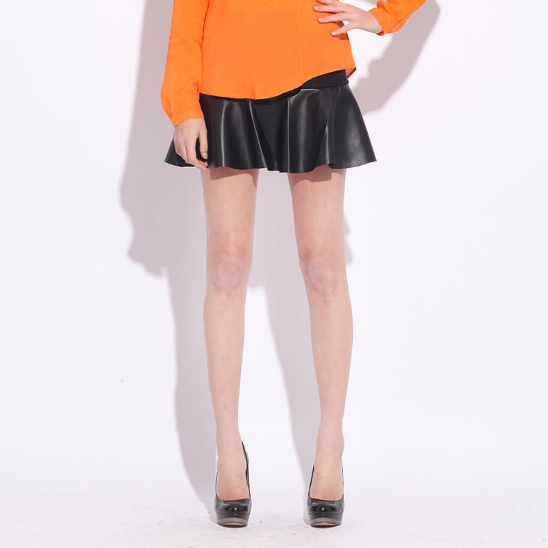 Miss mod aozi 2013 spring skirt bust skirt PU fashion high quality short skirt(China (Mainland))