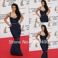 13680 Gorgeous Long Chiffon Kim Kardashian Sexy Mermaid Evening Dress Red Carpet with Straps Sheer Skirt