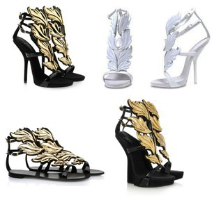 2013 Summer White Black Brand Gold Leaf Shoes Sandals Open Toe Flat GZ High Heels No Heel Less Platform Wedge Genuine Leather(China (Mainland))
