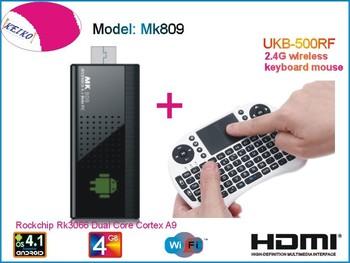 MK809 Android 4.1 Mini PC TV Stick Rockchip RK3066 1.6GHz Cortex A9 Dual core 1GB RAM 4GB MK809 3D TV Box + 500RF Fly Air Mouse