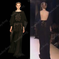 Free Shipping Custom Made A-Line Flare Sleeves Open Back Beaded Embroideries Black Lace Chiffon Evening Dress