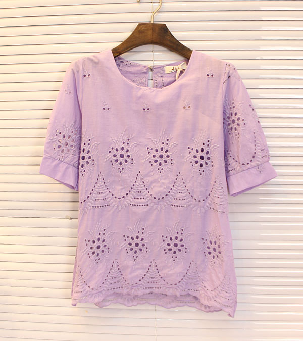 discount 2013 Fashion New Women's hollow out flower pattern sweet fresh o-neck cotton t-shirt tops blouse(China (Mainland))