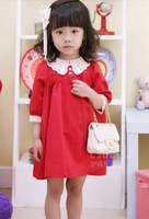 5 PCS/lot free shipping, wholesale 2013 new children 's clothing grils dress princess dress (100-100 cm), red dress