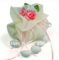 Wholesale!Creative European Organza Wedding Candy Bag With Artificial simulation Pink bouquet and bows (set of 50)Free Shipping