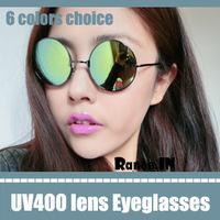 hot selling anti-uv uv400 sunglasses in gold men lot sunglasses eyewear round green mirror reflective lens eyeglasses sun glass