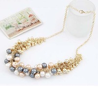 Gold Plated Imitation Pearl Choker Necklaces Collar for Women Beads Necklace Designs Wedding Jewelry 2013
