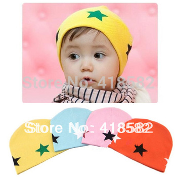 free shipping baby hat  4  colors  5 stars pattern Cotton  knitting wool Beanie Infant Hat  for Toddler Boys  Girls Hats