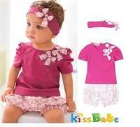 A032 3 Pcs Girl Baby Short Top Pants Headband Set Cotton Costume Clothing 0 36M