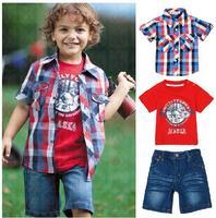 A0551 Boys Kids Clothing Shirts T Shirt Shorts 3pcs Outfit Set Top Pants S1 6Y