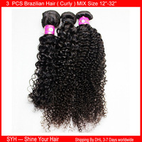 3 Bundles mix 12'' - 32'' curly Brazilian Remy Virgin Human Hair Extensions Unprocessed Extension  Weave Machine Weft  Weaving