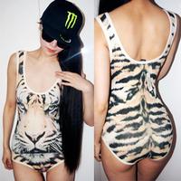 Oh savager nana fashion vintage tiger masklike slim one piece top vest female
