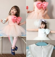 Free shipping,New Arrive !!children lace dress Fashion girl's Bow princess dress 2 colors summer baby party dress Retail Q-048